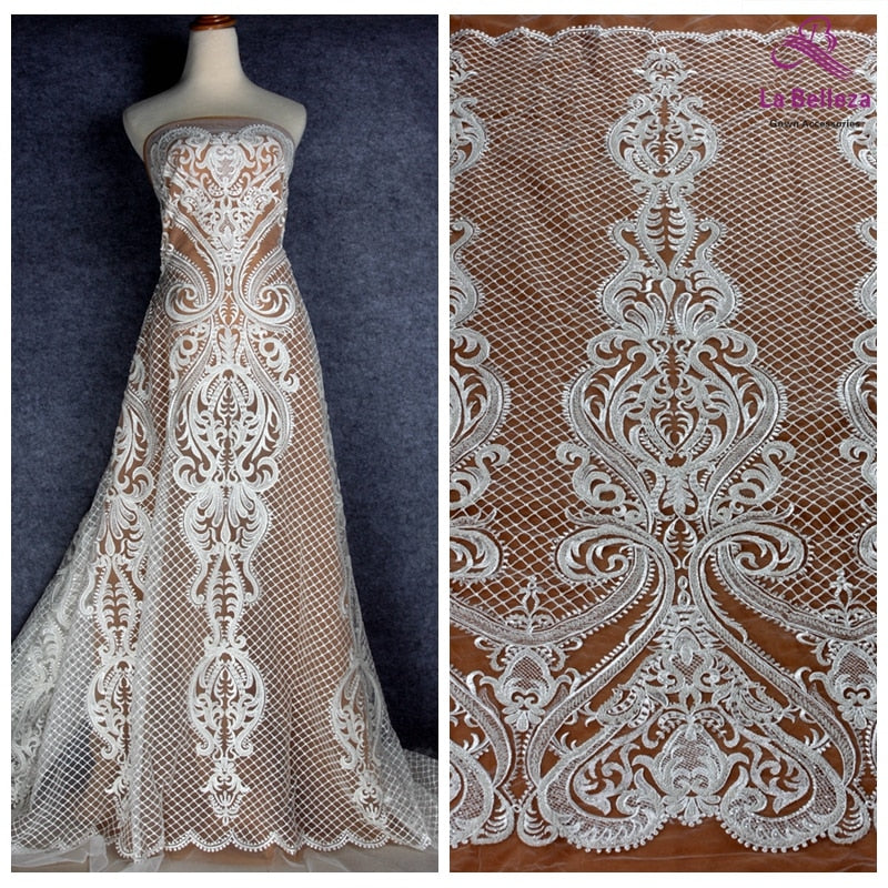 La Belleza new off white beaded lace fabric large pattern bridals lace fabric 1 yard