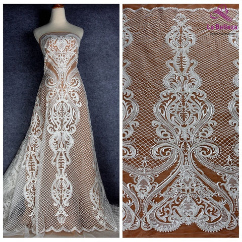 Image of La Belleza new off white beaded lace fabric large pattern bridals lace fabric 1 yard