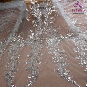 La Belleza new wedding dress lace fabric ,Heavy silver beaded sequins on off white mesh lace fabric 100cm width 1 yard