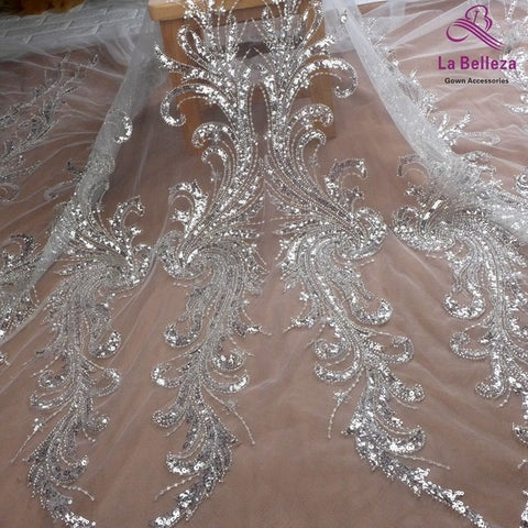 Image of La Belleza new wedding dress lace fabric ,Heavy silver beaded sequins on off white mesh lace fabric 100cm width 1 yard
