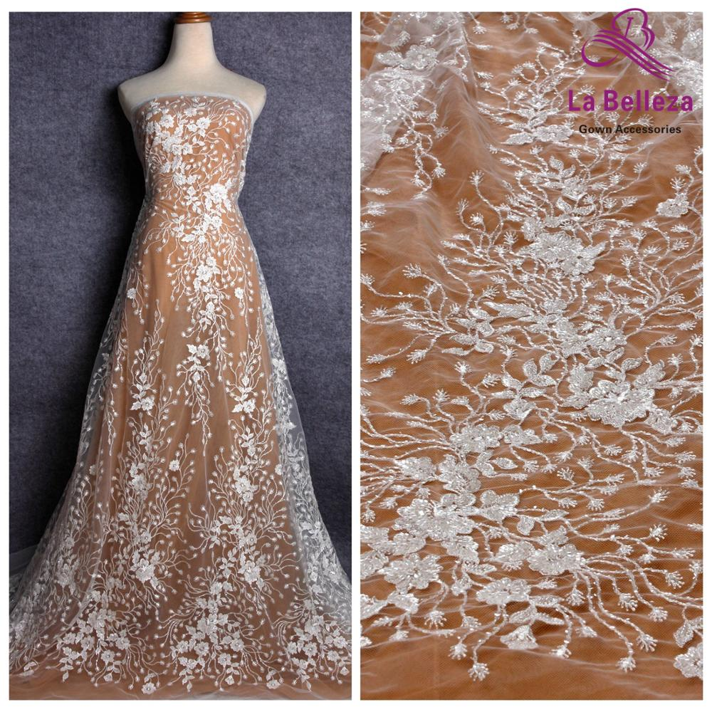 La Belleza new wedding dress lace fabric off white beaded sequins lace fabric leaves lace 1 yard