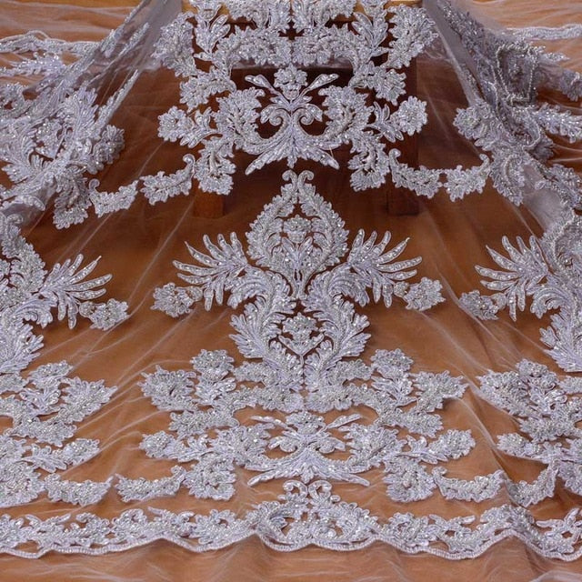 La Belleza pure white large pattern cord lace fabric heavy beaded fabric handmade beading lace gown lace fabric 1 yard