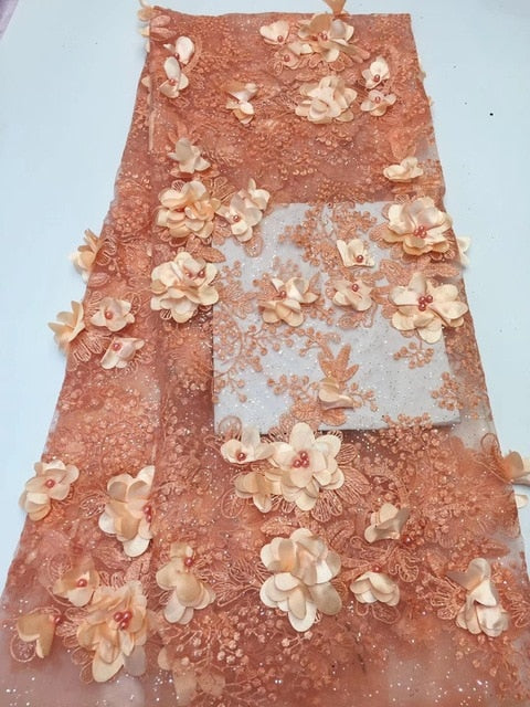 Lace Fabric Royal Gold French Lace Fabric with Beaded Nigerian French Fabric High Quality African Tulle Lace Fabric