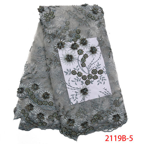 Lace Fabrics 2018 High Quality French Net Lace Fabric Fashion African Beaded Lace Fabric Embroidery 3D Lace Fabric NA2119B-1
