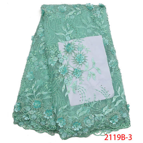 Image of Lace Fabrics 2018 High Quality French Net Lace Fabric Fashion African Beaded Lace Fabric Embroidery 3D Lace Fabric NA2119B-1