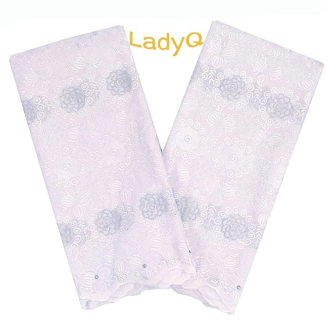 LadyQ 2019 New Nigerian Wedding Dress Lace Fabric 100% Cotton Materials African White Lace Voile Swiss Lace Fabric Wholesale