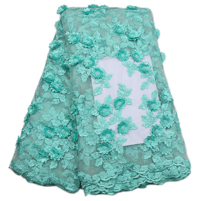 Lastest African Lace Fabric 2018 High Quality Lace Teal Bridal Lace Fabric With Beads Embroidery Tulle Mesh Lace Fabric Nigerian