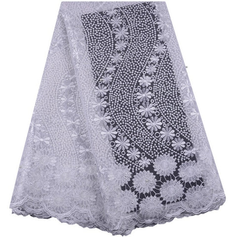Image of Latest African Cord Lace Fabric 2019 High Quality Voile Lace French Net Mesh Lace Fabric for Evening Party Wedding Dress Clothes