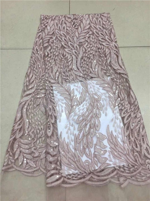 Latest African French Lace Fabric With Sequins pink For Sewing Wedding Dress 2019 High Quality Organza Tulle Lace Fabric white