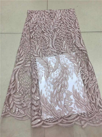 Image of Latest African French Lace Fabric With Sequins pink For Sewing Wedding Dress 2019 High Quality Organza Tulle Lace Fabric white