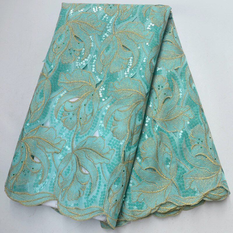 Latest African Hand cut Swiss Voile Lace Fabric High Quality Double Organza Lace In Switzerland With Full Sequins Lace