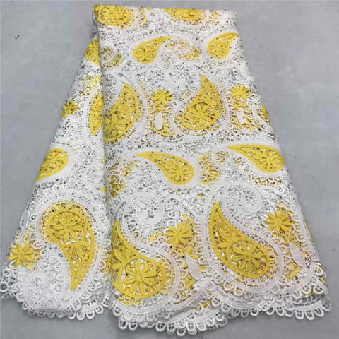 Image of Latest African Lace Fabric 2018 Cord Lace Embroidery Guiple Lace with stones Fabric High Quality African Lace Rribbon MJKY2968a