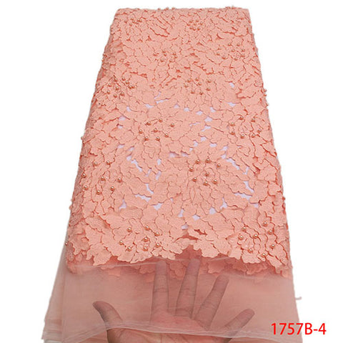 Image of Latest African Lace Fabric 2018 High Quality Lace French Tulle Lace Fabric Pink Nigerian Laces For Nigerian Party NA1757B-2