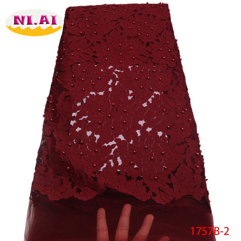Latest African Lace Fabric 2018 High Quality Lace French Tulle Lace Fabric Pink Nigerian Laces For Nigerian Party NA1757B-2