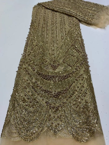 Image of Latest African Lace Fabric Sequins with bead 2020 High Quality French Tulle Net Lace Fabric Nigerian Sequins For Wedding Dress