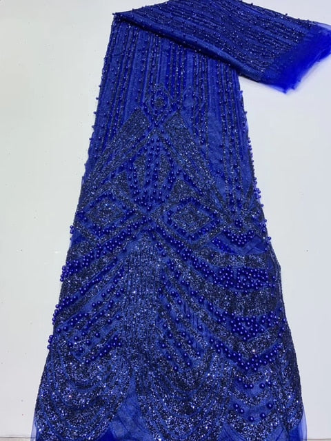 Latest African Lace Fabric Sequins with bead 2020 High Quality French Tulle Net Lace Fabric Nigerian Sequins For Wedding Dress