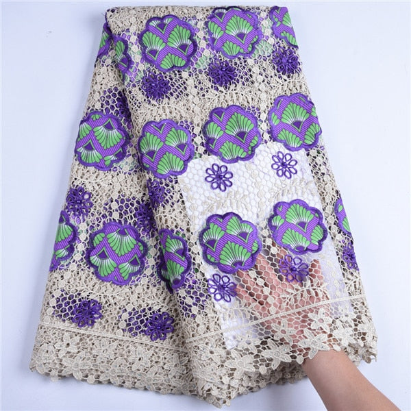 Latest African Lace Fabrics With Water Soluble Lace Fabric New Fashion Nigerian Guipure Lace Fabric With Beads For Dress F1610