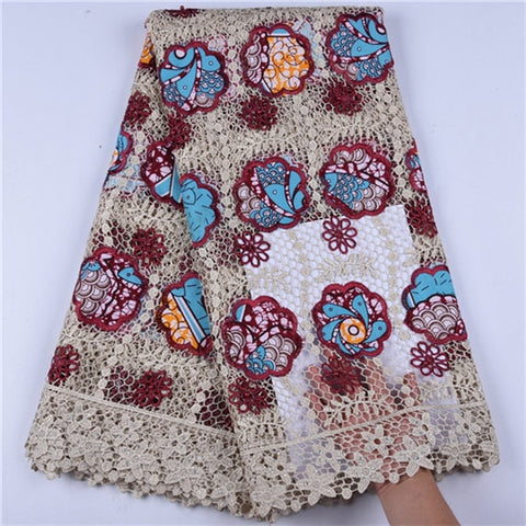 Image of Latest African Lace Fabrics With Water Soluble Lace Fabric New Fashion Nigerian Guipure Lace Fabric With Beads For Dress F1610