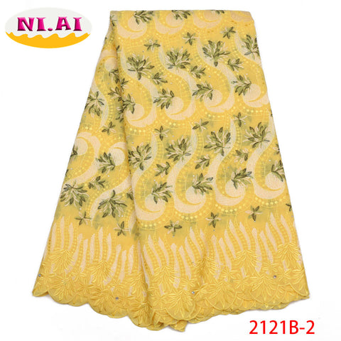 Latest African Laces 2018 High Quality Swiss Voile Lace Fabric Embroidery Dry Lace Fabric For Nigerian Party Dress NA2121B-2