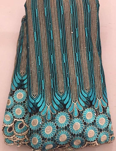 Latest African Laces Fabrics Embroidered African tulle French Lace Fabric With stones 2018 African French Net Lace FLL3255 BLUE