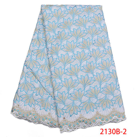 Image of Latest Design Swiss Voile Lace In Switzerland High Quality Embroidery African Dry Cotton Lace Fabric For Party Dress NA2130B-2