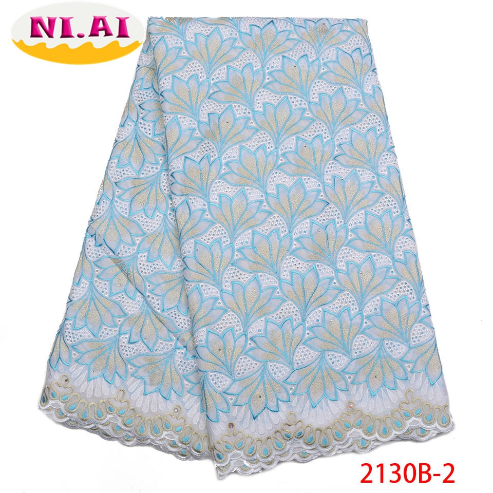 Latest Design Swiss Voile Lace In Switzerland High Quality Embroidery African Dry Cotton Lace Fabric For Party Dress NA2130B-2