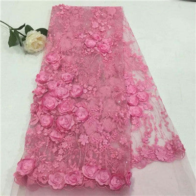 Image of Latest Embroidery Pink 3d Flower French Lace Apliques Bridal Lace Rosette African Wedding Tulle Fabric X673-1