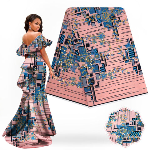 Latest Embroidery Wax Print tissu africain wax  Batik Ankara Sequins fabric High Quality Nigeria Wedding Dress SH181217