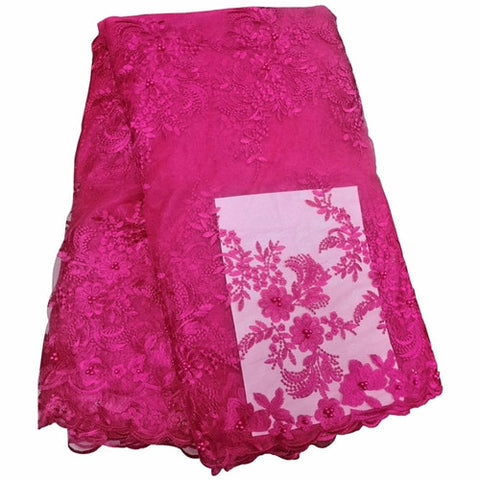 Latest French Beaded 3D Lace Fabric African Lilac Tulle Lace Fabric Voile Lace For Wedding Party Floral Embroidery Nigerian Lace