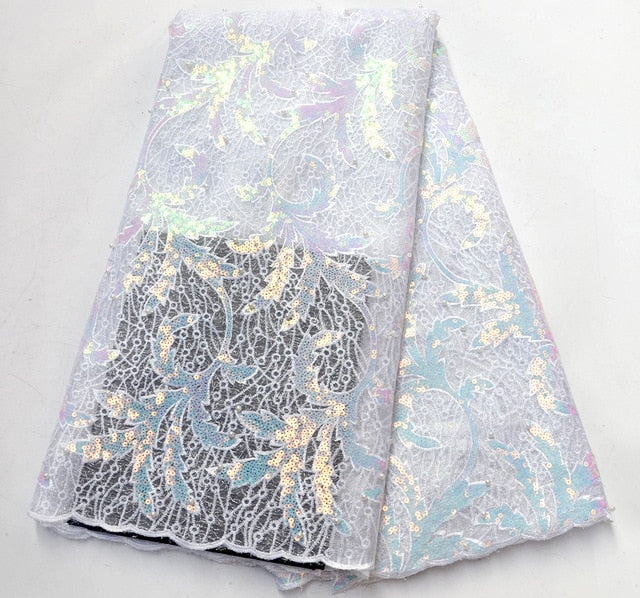 Latest French Sequins Laces Fabrics 2019 High Quality African Lace Fabric For Wedding Nigerian Lace Material For Party