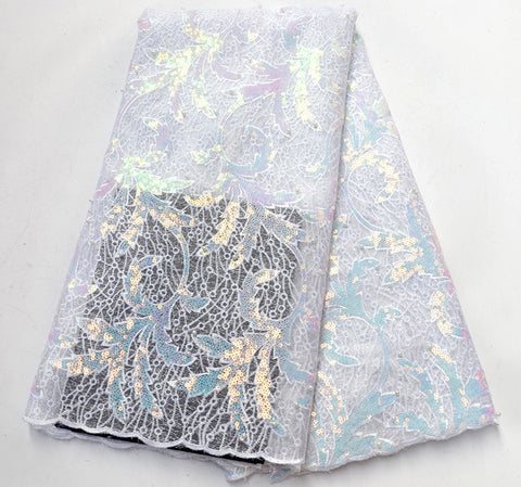 Image of Latest French Sequins Laces Fabrics 2019 High Quality African Lace Fabric For Wedding Nigerian Lace Material For Party
