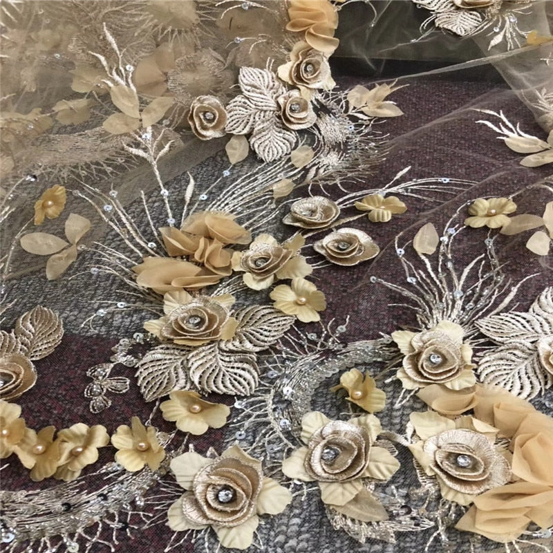 New design flower embroidery fabric french lace fabric luxurious lace fabric with stones