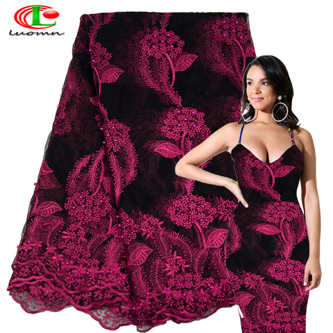 Latest Grape red African Lace Fabric 2018 High Quality Lace Embroidery French Mesh With Beads Nigerian Lace Fabrics Materia