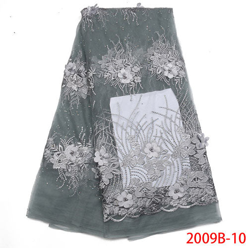 Latest High Quality African Tulle Lace Fabric 2018 Fashion French Lace Fabric Appliqued Beaded Laces For Party Dress NA2009B-4
