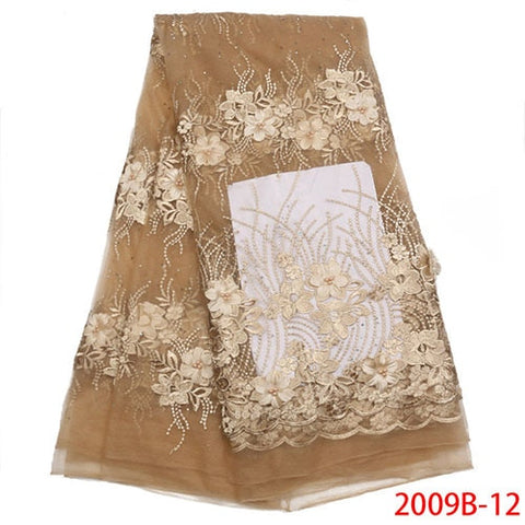 Image of Latest High Quality African Tulle Lace Fabric 2018 Fashion French Lace Fabric Appliqued Beaded Laces For Party Dress NA2009B-4