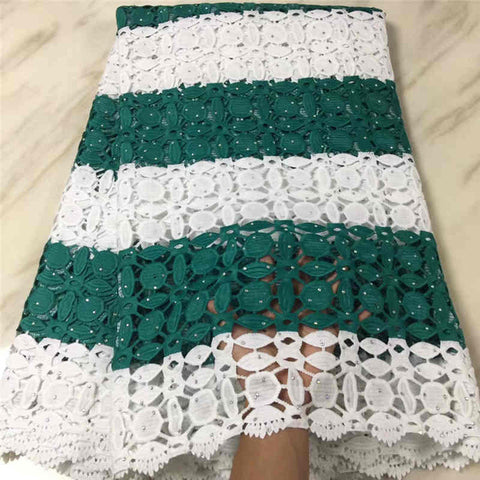 Image of Latest Lace Fabric 2018 Cord Lace Embroidery Guiple Lace with stones Fabric High Quality For African Party long Dresses LIS112