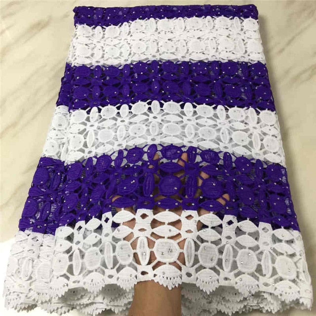 Latest Lace Fabric 2018 Cord Lace Embroidery Guiple Lace with stones Fabric High Quality For African Party long Dresses LIS112