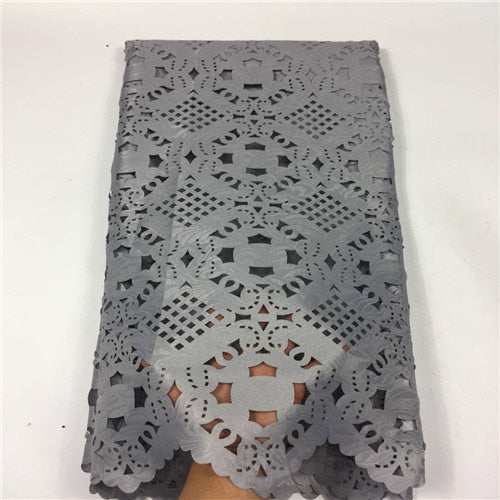 Latest Laser Cutting Nigerian Lace Embroidered Fabric Jacquard Lace Fabric For Dress 2018 Guipure Swiss Dry Lace Materia GF254-1