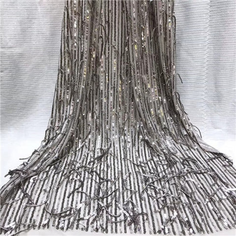 Image of Latest Nigerian Lace Fabric Sequin Embroidery Organza Lace Fabric High Quality African French Lace Fabric For Wedding   JYMAY202