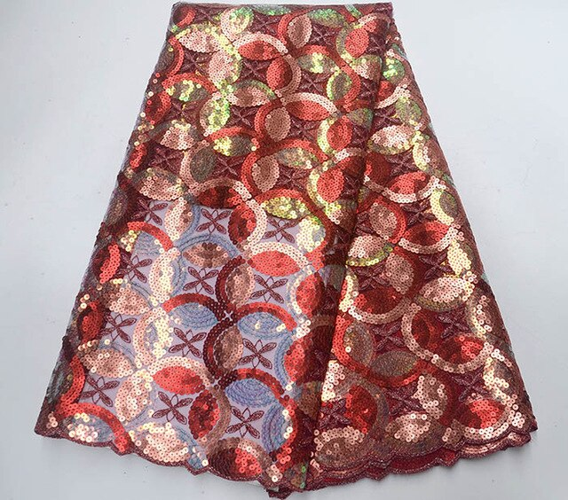 Latest Red wine french sequins tulle lace fabric embroidered high quality nigerian organza lace fabric for luxury dress