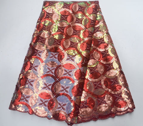 Image of Latest Red wine french sequins tulle lace fabric embroidered high quality nigerian organza lace fabric for luxury dress