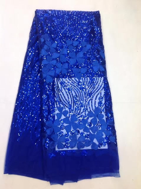 Latest Sequins African Lace Fabric 2017 Flowers Embroidery Lace High Quality Nigerian Lace For Royale Blue Wedding Lace MJKY673C