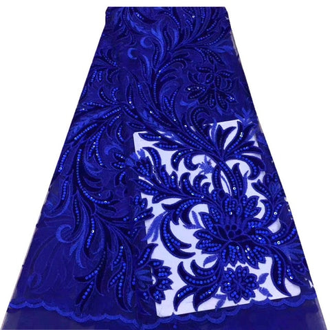 Image of Latest Sequins African lace fabric 2020 High Quality Lace Velvet Lace royal Blue Nigerian Lace Fabrics For Wedding dress mv597