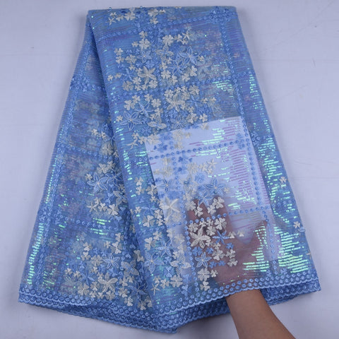 Image of Latest Sky Blue French Net Laces Fabric 2019 High Quality Tulle African Laces Fabric With Sequins For Wedding Party Dress 1660