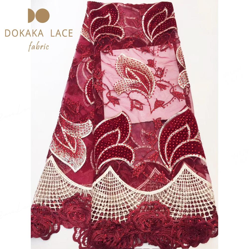 Latest Wine Red Color Beautiful Stones Fabric Nigerian Mesh Water Soluble Lace Indian Women Rhinestones Tulle Cord Lace Material