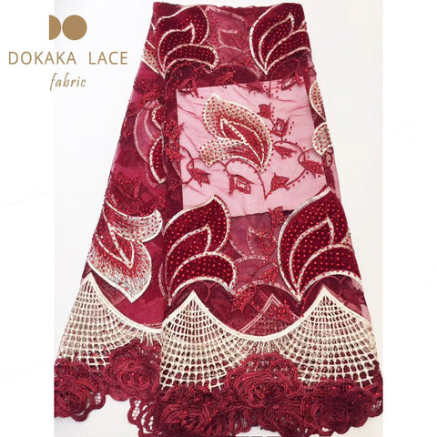 Image of Latest Wine Red Color Beautiful Stones Fabric Nigerian Mesh Water Soluble Lace Indian Women Rhinestones Tulle Cord Lace Material