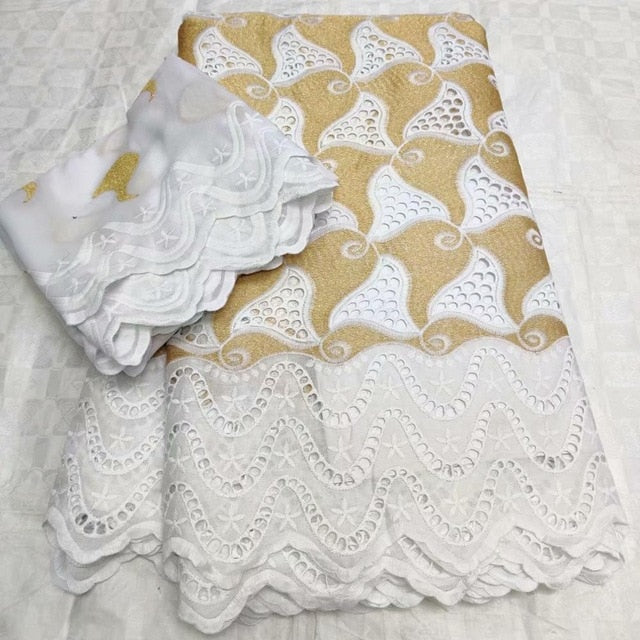 Latest eyelet Swiss African Cotton Lace Fabric 5+2yards Swiss Voile Lace In Switzerland  For Every Dress Sews  F1QZAP294