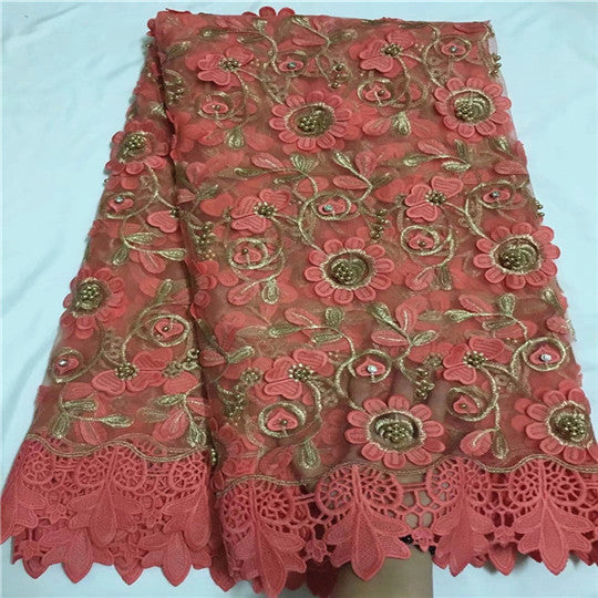 Latest fashion beaded african french lace fabric mixed with cord lace for wedding dress QZ11-3