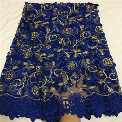 Image of Latest fashion beaded african french lace fabric mixed with cord lace for wedding dress QZ11-3