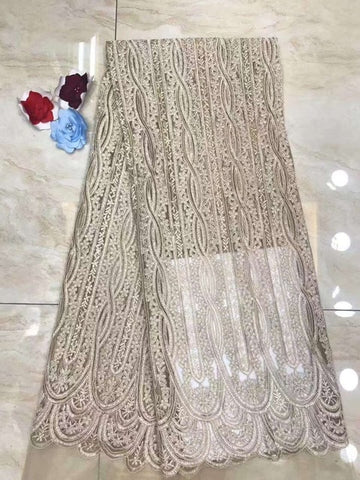 Image of Latest french Lace Fashion nigerian lace fabrics for wedding 2019 african french lace fabric high quality with stones DP311